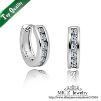 Top Quality White Gold Plated Crystal Hoop Earrings Round Circle Earrings Fashion Women Jewelry 2014 Free Shipping