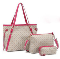 Hot selling 3pcs ladies' bag set,fashion grid pattern high quality women's totes handbag shoulder bag