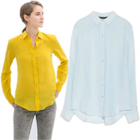 New Fashion Women's Elegant Long Sleeve Turn-down Shirts Solid Color Slim Chiffon Casual Lemon Yellow Blouses Tops Brand PS0493