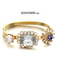 Free Shipping 2014 Vintage Metal Fashion Hot Wholesale pearl crystal Snowflower Bracelet Bangle and Bracelet dropshipping  B