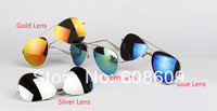 Free Shipping wholesale Colorful Reflective Fashion Metal Sunglasses Factory Sell Mirror Mercury Metal Sunglasses 20 Piece/Lot