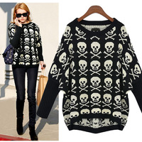free shipping! 2013 loose plus size sweater skull female outerwear