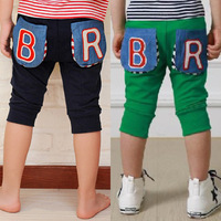 children pants 2014 summer boys clothing girls clothing baby child three-dimensional pocket capris trousers   3 - 10 years old