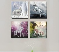 Hot Sell Modern Wall Painting Home Decorative Art Picture on Canvas Light of the moon the mysterious beautiful unicorn