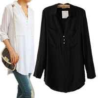 New Fashion Women's Elegant Long Sleeve V-neck Solid color Shirts Casual Slim Double Big Pockets Long Blouses Tops  CooLba097