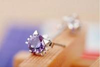 100% Genuine Real Pure 925 Sterling Silver White Purple zircon Kitten Elf  Stud Earrings. 925 silver jewelry