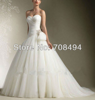 2014 NEW DESIGN in stock Free shipping custom size sweetheart ball gown bow attached zipper back wedding dresses-Perfect Gowns