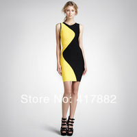 Freen shipping spring new fashion round collar two colors splicing sexy sheath pinafore dress