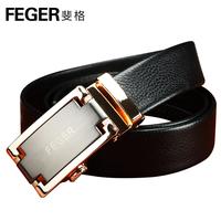 Sales ! Feger brand genuine leather man belts 2014 male automatic buckle strap men belt black