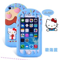 wholesale+retail 1pcs Newest Fashion hello kitty Case with ice cream for iPhone 4 4s 5 5S with retail package free shipping