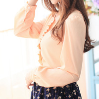 Sweet pearl single breasted ruffle hem patchwork o-neck long-sleeve chiffon shirt formal women's top