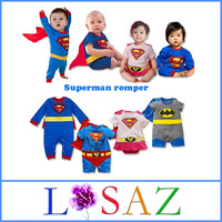 Cartoon Newborn Long Sleeve Superman Baby Rompers with Cape Kids Jumpsuit Unisex Costume Batman Baby Bodysuits Baby Clothing