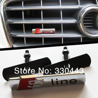 FREE SHIPPING! ON SALE Excellent 3D Metal Grill Front Grille car Badge S line for Audi, Smooth car emblem sticker