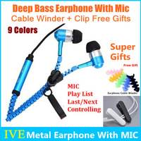 2014 New 3.5mm Jack Metal In Ear Earphones Headphones With Mic For MP3/Iphone/Samsung/ HTC//Lenovo Phone 9 Colors -/+Play List