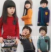 Free shipping New fashion Spring clothing boys and girls O-neck pocket long-sleeve T-shirt  Bottoming shirt