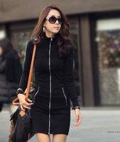 Free Shipping 2014 Black Autumn Winter New Fashion Size S-3XL Slim Fit Long Sleeves Turtleneck Split Cardigan Dress #8450