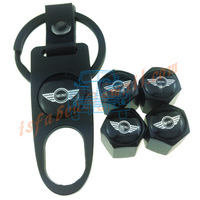 Wholesale Metal Chrome Mini Cooper Badge Tire Valve Caps Sticker Tyre Valve Dust Cap (4PCS/LOT)