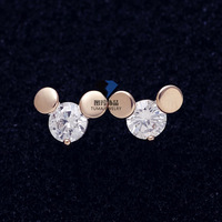 18K Gold Plated Studded Top Quality Zirconia Stone Cute Mickey Mouse Earrings Studs Earring