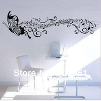 Free Shipping Black Classics Music Butterfly Xlarge Removable Vinyl Wall Stickers Mural Decal for Kids Room Living Room