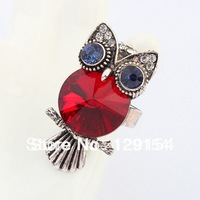 Fashion Jewelry Wholesale Personalized Owl Big Crystal Mosaic Woman's Rings 4 Color Free Shipping