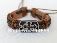 455 Brown cross bracelet Men leather bracelet Classic style religious leather jewelry Simple design wristlet Gift suitable men