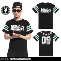 Baseball t-shirt short-sleeve o-neck Men men's clothing fashion sports digital print black and white class service