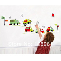 Free Shipping Loving Cars Cartoon Wall Vinly Decal Decor Sticker Removable For Nursery Girls and Boys Children's Bedroom