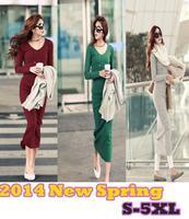 S-5XL!! New 2014 spring summer women Long sleeve knitted Long Elegant  dress/Women plus size clearance maxi cotton dress