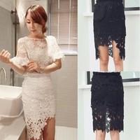 2014  Basic all-match lace crochet slim hip irregular bust skirt medium skirt d10
