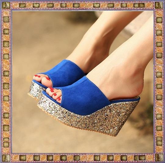 Mode femme d'paillettes haute coins talons sandales plateforme femmequalité pantoufles, cales chaussures sport dames livraison gratuite a655