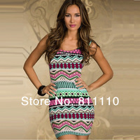 Trend Knitting European style 2014 New fashion Women's clothes Color geometric Elastic slim classic sexy dress YDY-N115