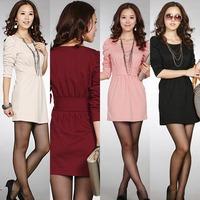 2014 Brand New OL Dress Women's EU grace Gentle long sleeve ol dress women Slim Fit Mini Dresses Office Work Simple Dress