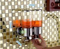 2x500ml Double Liquid Soap Dispenser Stainless Steel & ABS Wall Mount  Hand Bathroom Kitchen Foam Lotion Bottle Shampoo Box