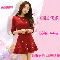 2014 spring women's small slim half sleeve o-neck  waist elegant basic one-piece dress0001,free shipping