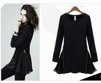 2014 Spring Dress Autumn O-Neck Knitting Fleece Slim Side Zipper Patchwork Chiffon Long-Sleeve Above-Knee Women Dress in Stock