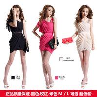 Spring 2014 New Korean Nightclub Oblique Dress Sexy Summer HOT Women Chiffon Dress dresses Packet Hip Slim Free Shipping
