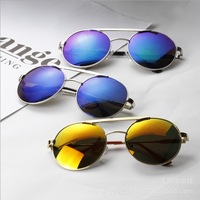 Super Round frame Reflective lens Colorful fashion nice metal frame 2014 new women sunglasses gafas Oculos De sol n331