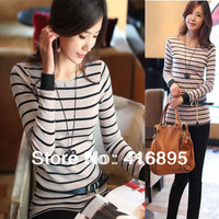 2014 New Women's Cotton Pullovers o-Neck Casual Knitwear Striped Sweater Sweaters 3030814