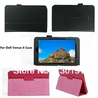 Magnetic Closure Lychee Pattern pu Leather Stand Case for Dell Venue 8 android edition, 100pcs/lot DHL Free shipping