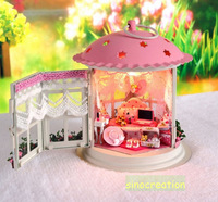 Free Shipping 2014 DIY Dollhouse -- Dressing Room With Mediterranean Style Miniature Furniture Set, Assembly Construction Toy