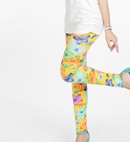 Free shipping 5pcs/lot 2014 new baby girls leggings girl candy color flower print kids leggings girls leggings spring 2014