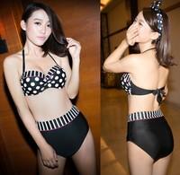 Sexy women waist dot push up bikini split swimsuit B1412