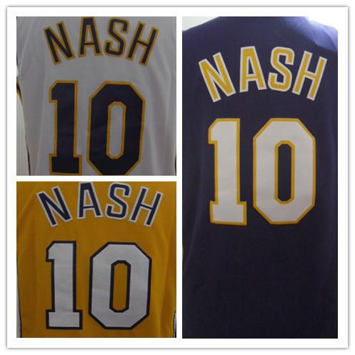 Cotton Adult Nash #10 White Yellow Purple Jerseys Men'S Basketball Jerseys American Sports Jerseys Size S/44-56/XXXL Mixed Order(China (Mainland))