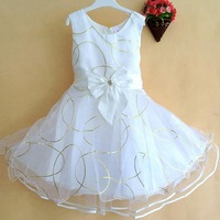 2013 New arrival Girls dress children's clothing girls summer sleeveless dress bow dress tutu veil white purple gold baby kids