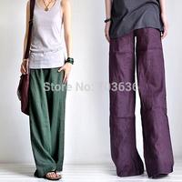 Free shopping new 2014 woman Thin elastic waist adjustable fluid linen yoga straight casual pants yoga pants plus size