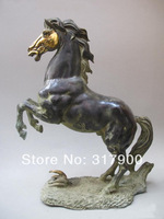 "21""Inch Chinese Folk Old Bronze Lucky leap Success Horse Statue"