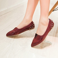 large size 2014 spring and autumn new casual style pointed toe sexy rivets women flats fashion shoes T1XW-312
