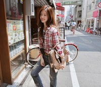 2014 new spring and autum vintage British style plaid  casual loose big yards women shirt /blouse colthing