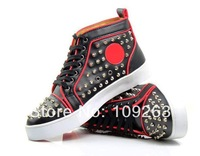new designer Punk Leopard Rivets spiked shoes red bottoms for mens and women sneakers hip-hop professional shoes TOP quality