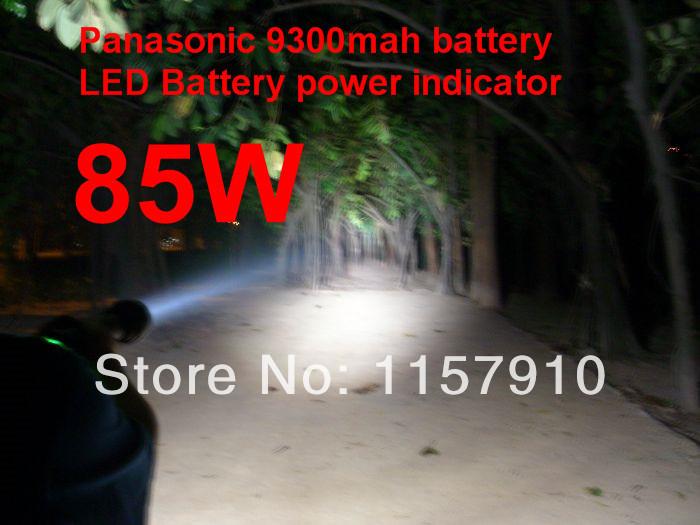 New 85w HID Xenon Flashlight Torch 8500LM Panasonic 9300mAh Battery High Power HID Lamp(China (Mainland))